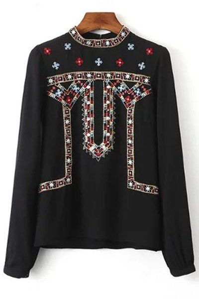 Retro Embroidery Stand Neck Long Sleeve Blouse