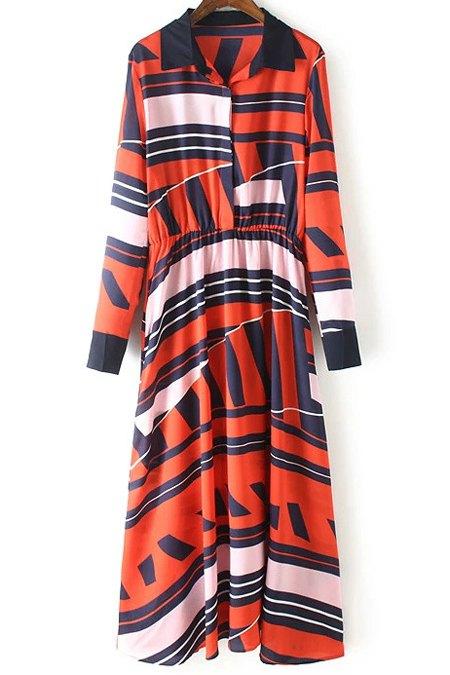 Geometric Pattern Turn-Down Collar Long Sleeve Dress