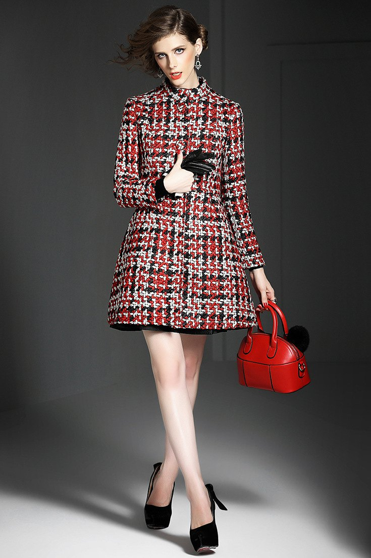 Checked Pattern Stand Neck Long Sleeve Coat
