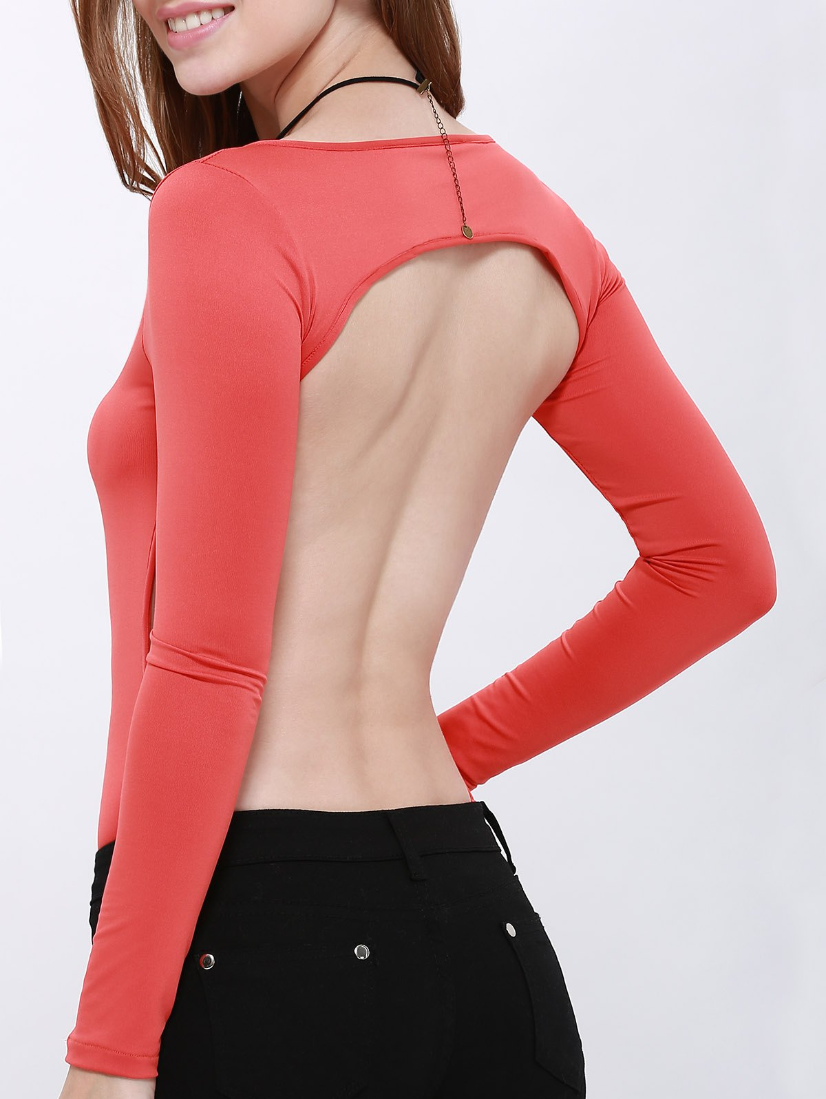 Scoop Neck Long Sleeve Hollow Back Bodysuit