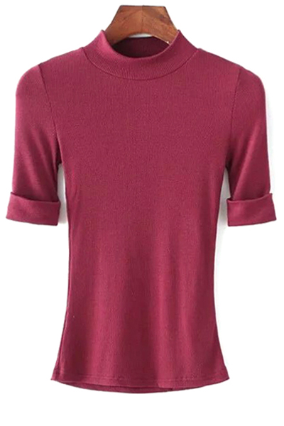 Round Neck Short Sleeve Thread Solid Color T-Shirt