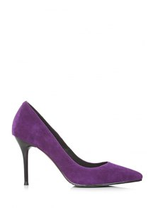 Buy Solid Color Pointed Toe Stiletto Heel Pumps 37 PURPLE
