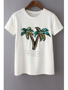 Sequined Coconut Palm T-Shirt