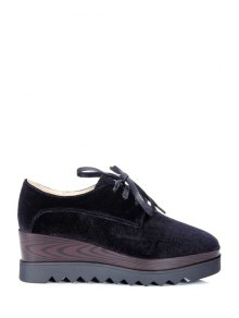 Lace-Up Square Toe Platform Shoes - Black 38