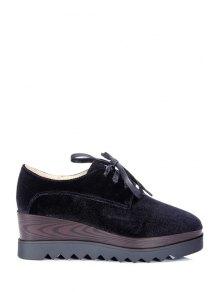 Lace-Up Square Toe Platform Shoes