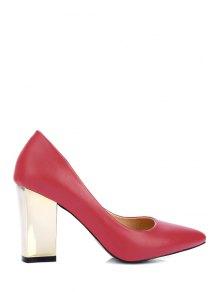 Buy Pointed Toe Metal Chunky Heel Pumps 34 RED