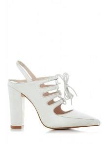 Hollow Out Slingback Lace-Up Sandals - Milk White 38