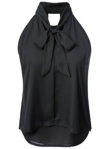 Double-Layered Bow Collar Sleeveless Shirt
