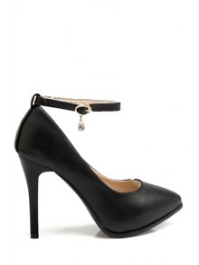 Pendant Ankle Strap Stiletto Heel Pumps - Black