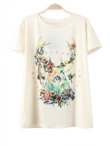 Deer Pattern Round Neck Short Sleeve T-Shirt - Off-white S