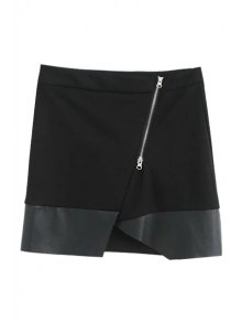 Asymmetric PU Leather Spliced Side Zipper Skirt