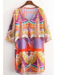 Loose Eagle Print Round Neck Half Sleeve Dress