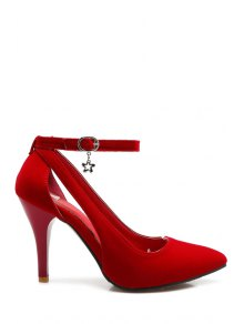 Pendant Hollow Out Ankle Strap Pumps - Red 34