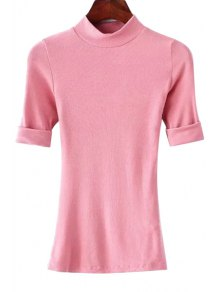 Thread Solid Color Round Neck Short Sleeve T-Shirt