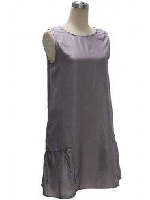 Gray Loose Pocket V Neck Sleeveless Dress