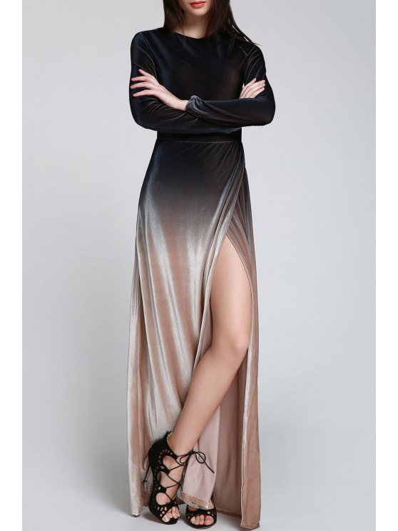 best High Slit Ombre Maxi Velvet Dress - BLACK S
