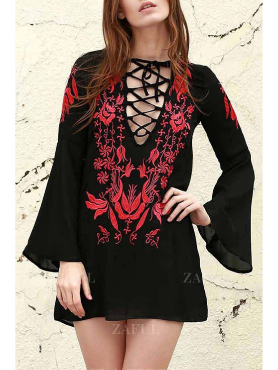 Floral Embroidered Plunging Neck Long Sleeve Dress - BLACK M Mobile