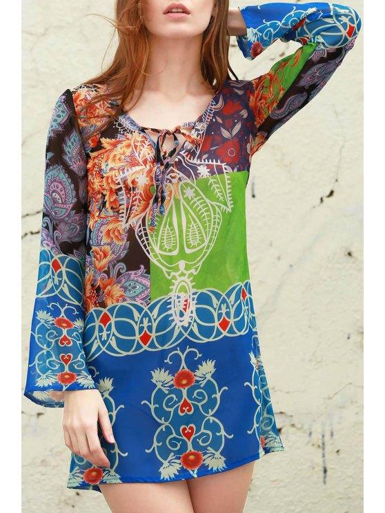Plunging Neck Bohemian Print Dress - BLUE S Mobile