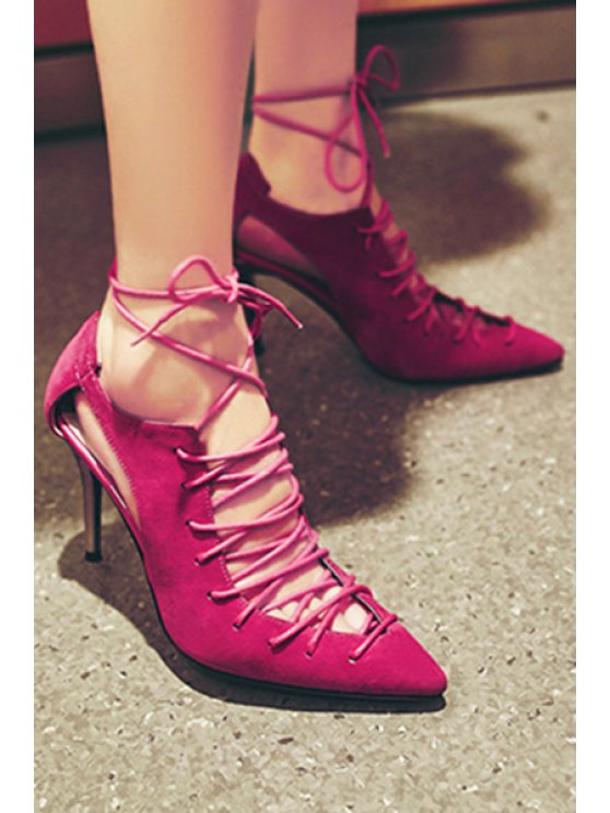 Cross-Strap Solid Color Pointed Toe Pumps - ROSE 39 Mobile
