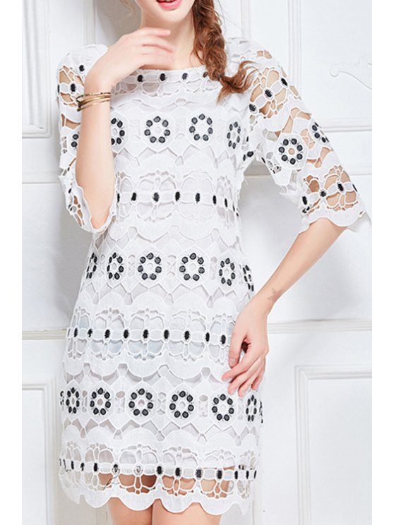 Scoop Neck Half Sleeve Hollow Lace Dress - WHITE L Mobile