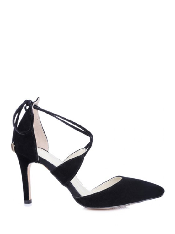 ladies Solid Color Stiletto Heel Lace-Up Pumps - BLACK 36