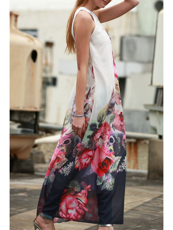 Sleeveless Chiffon Maxi Floral Dress - WHITE L Mobile