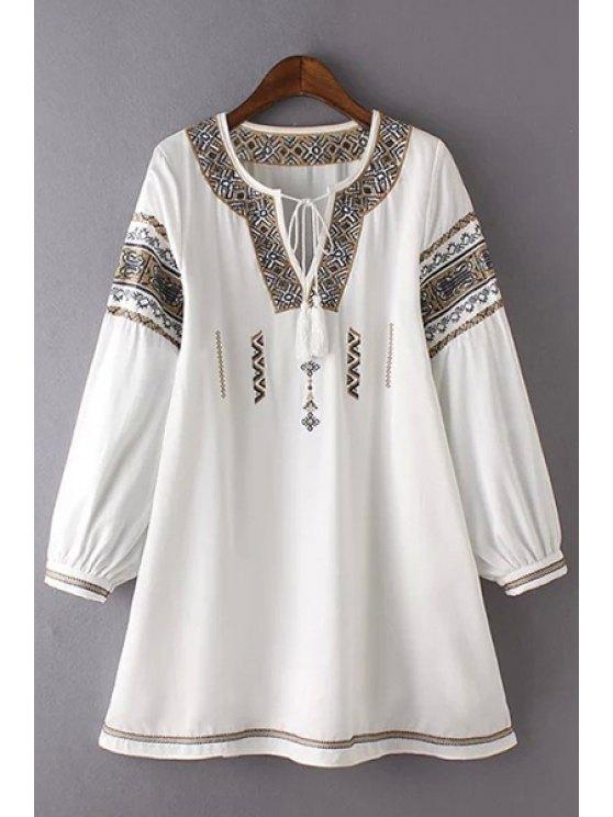 Retro Broderie col rond 3/4 robe à manches - Blanc L