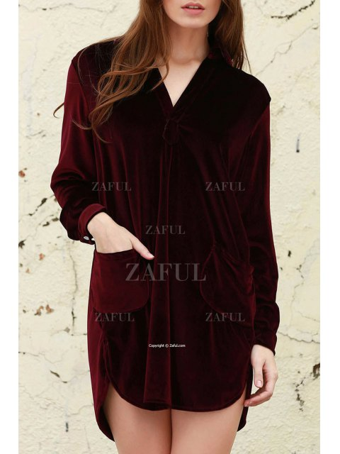 women's Loose Velvet Shirt Dress - WINE RED M Mobile