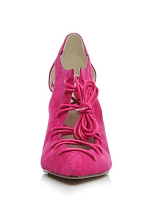 lady Cross-Strap Solid Color Pointed Toe Pumps - ROSE 37 Mobile