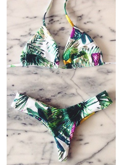 online Plant Print Halter Bikini Set - BLACKISH GREEN XL Mobile