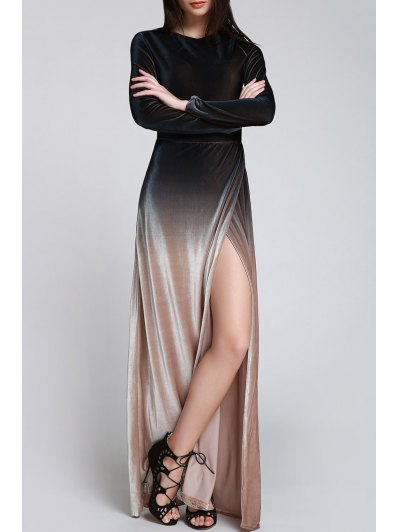 Side Slit Long Sleeves Gradient Color Dress - BLACK S Mobile