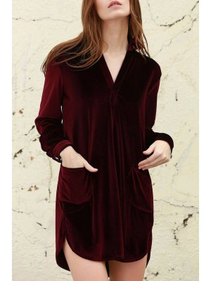 Loose Velvet Shirt Dress - Wine Red