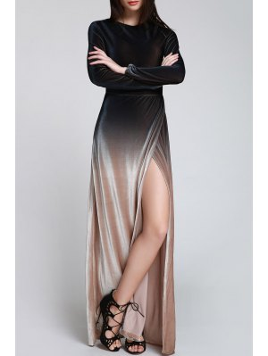 High Slit Ombre Maxi Velvet Dress