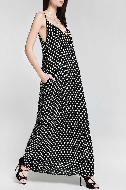 Spaghetti Strap Sleeveless Polka Dot A-Line Maxi Dress