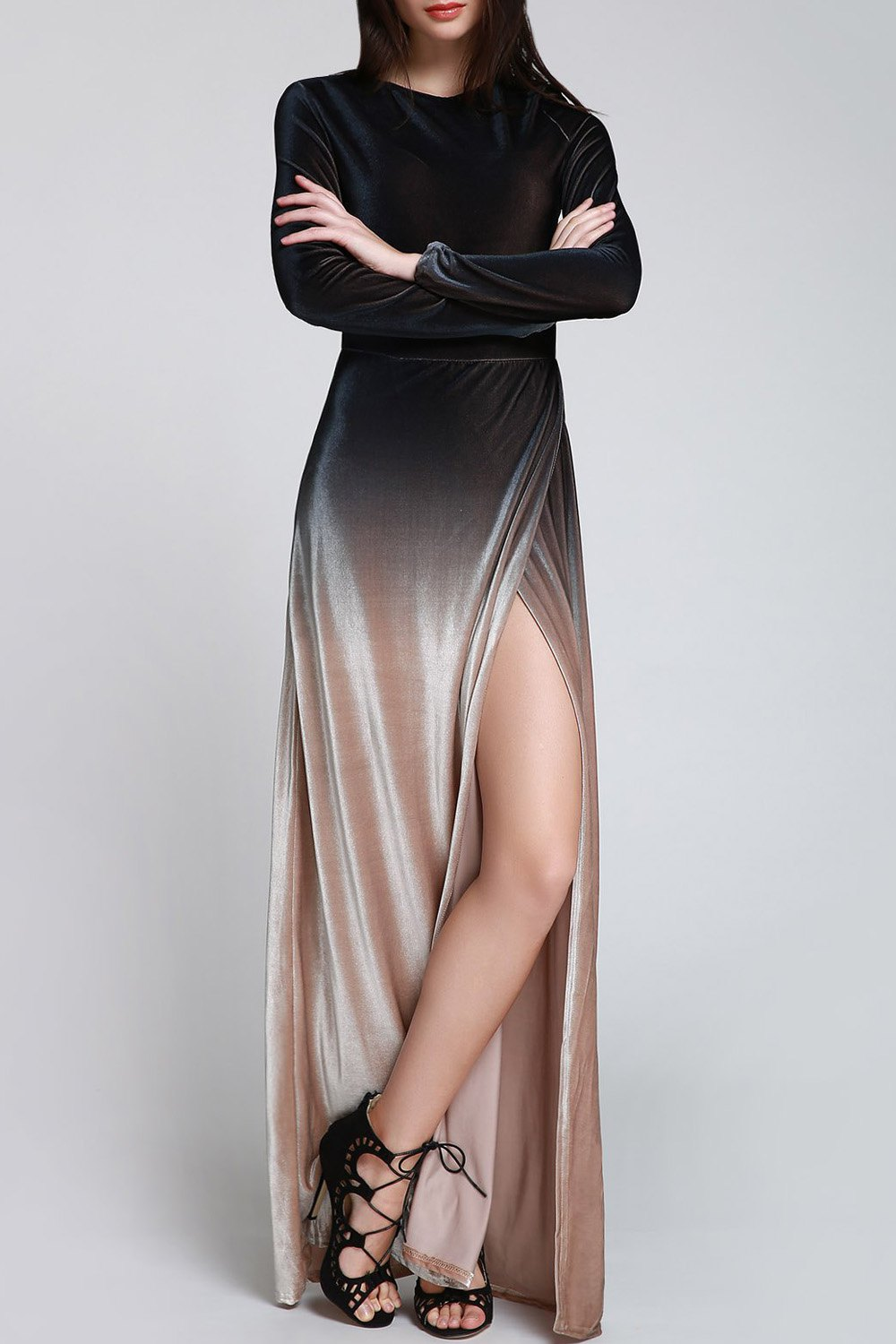 High Split Ombre Color Velvet Maxi Dress