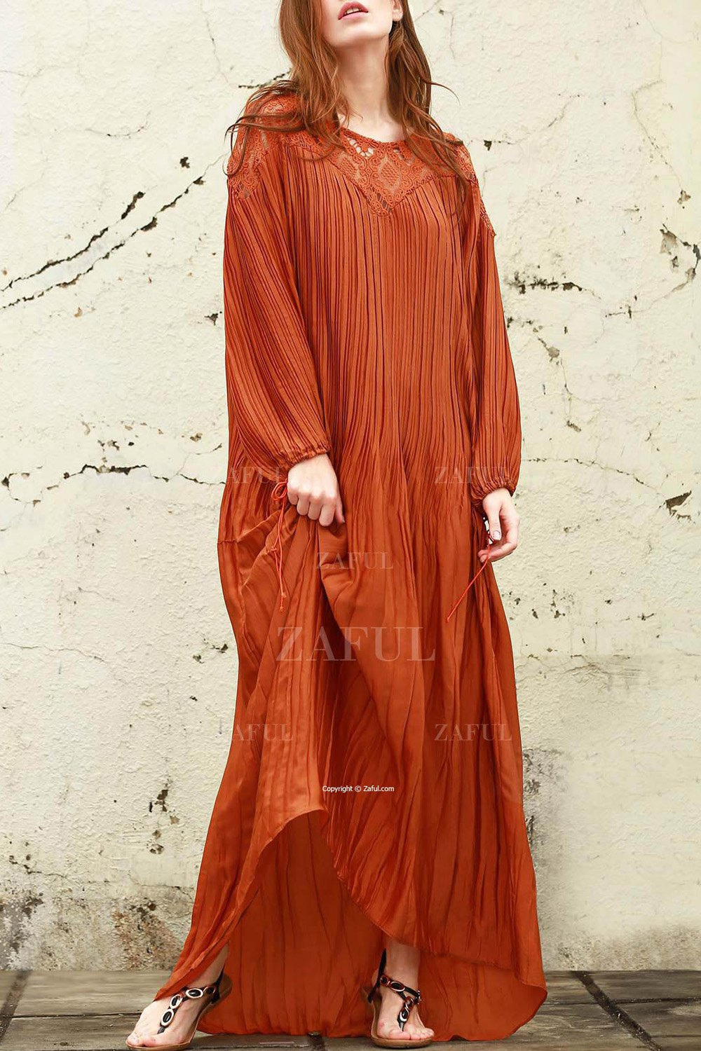 Puff Sleeve Solid Color See-Through Maxi Dress