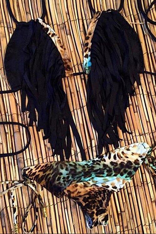 Spaghetti Strap Fringe Leopard Print Bikini Set