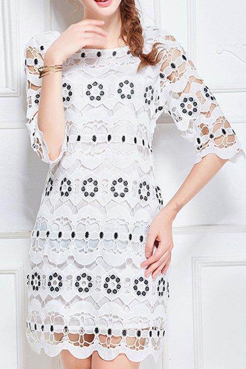 Scoop Neck Half Sleeve Hollow Lace Dress