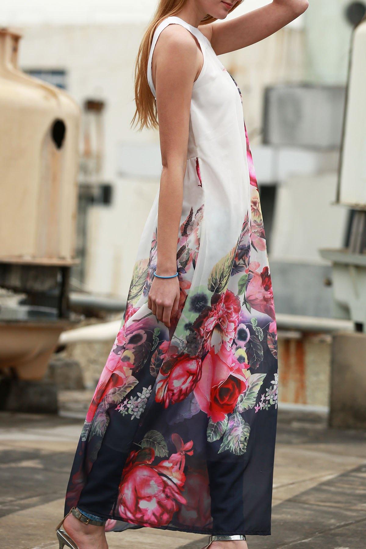 Round Neck Sleeveless Floral Print Maxi Dress