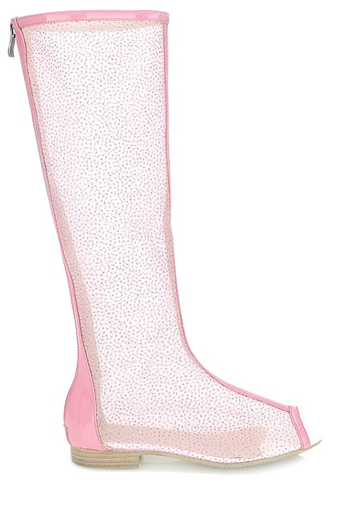 Buy Flat Heel Splicing Gauze Peep Toe Shoes PINK 34