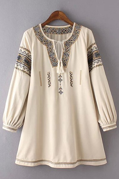Round Neck 3/4 Sleeve Retro Embroidery Dress