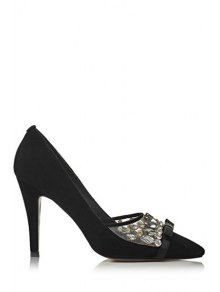 Buy Rhinestone Bow Pointed Toe Pumps 37 BLACK