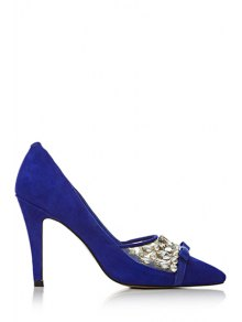 Buy Rhinestone Bow Pointed Toe Pumps 37 BLUE