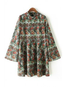 Loose Floral Print Stand Neck Flare Sleeve Dress
