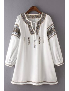 Retro Embroidery Round Neck 3/4 Sleeve Dress