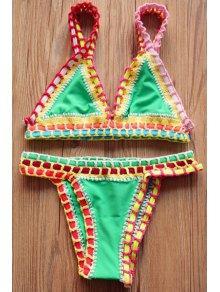 Crocheted Spaghetti Strap Bikini Set