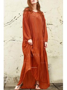 Sateen Puff Sleeve See-Through Maxi Dress - Darksalmon