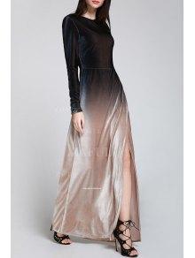 Side Slit Long Sleeves Gradient Color Dress - BLACK S