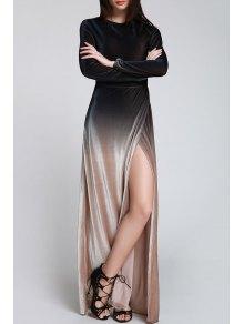 High Slit Ombre Maxi Velvet Dress