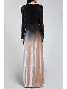 High Slit Ombre Maxi Velvet Dress - BLACK S